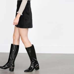 Zara Patent Leather Boots Gold Trim Block Heel